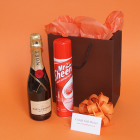 Champagne new home gifts, moving day house warming gift ideas