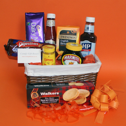 Emigrating presents, moving abroad gift baskets, gifts for people emigrating, leaving the country