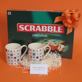 Scrabble game house warming gift, Scrabble moving home gifts, game and mugs housewarming gifts UK, Scrabble gifts