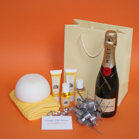 Champagne new baby gifts UK, gifts for new babies, champagne baby congratulations gifts, Burts Bees Baby gift ideas for new mums