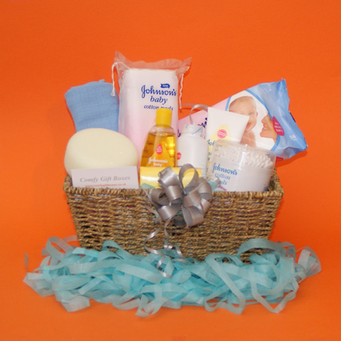 New baby gift baskets UK, baby boy gift basket, gift baskets for new babies delivered, new baby congratulations gifts, gift ideas for new baby baskets, baby boy gift hampers, Johnsons baby gift baskets
