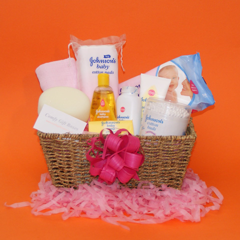 New baby gift baskets UK, baby girl gift basket, gift baskets for new babies delivered, new baby congratulations gifts, gift ideas for new baby baskets, baby girl gift hampers, Johnsons baby gift baskets