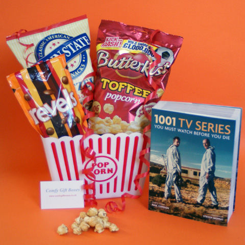Gifts for him ideas UK, TV & popcorn gifts, film night gift ideas for boys, television fan gifts UK, movie night gifts UK