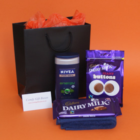 Chocolate pamper gifts for boys. Gift ideas for boys, Nivea pamper presents for men