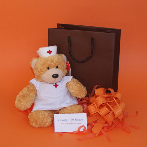 Nurse soft toy get well gifts, get well presents, small get well hospital gifts, teddy bear gifts UK
