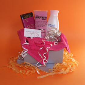 Pamper gifts for women, Birthday gift ideas for her, raspberry body scrub, organic chocolate and body lotion pamper gifts